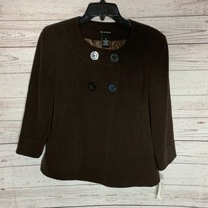 NEW ND New Directions Button Chocolate Blazer